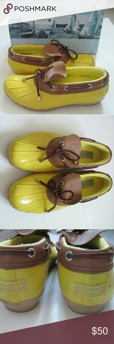 "Sperry J. Crew Cormorant Duck Rain Yellow Super fun rain shoes by Sperry and J. Crew in a bright ""lemon"" yellow with tan leather accents. The insides are a warm fleece type lining and the soles are heavy duty with good tread. There are some signs of wear which I tried to show in the pictures as accurately as possible. I just bought these from the original owner but they are too big for me. Comes with the original box. Sperry Top-Sider Shoes Winter & Rain Boots"