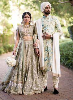 May 2020 - Explore weddingsonlyin's board Unique Bride & Groom Outfit Combination Couple Wedding Dress, Wedding Outfits For Groom, Indian Wedding Outfits, Indian Outfits, Indian Weddings, Real Weddings, Wedding Dresses, Groom Outfit, Groom Dress