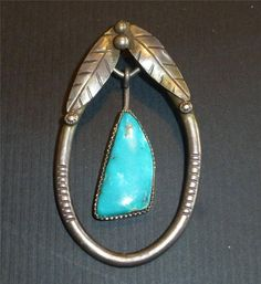 Vintage Silver & Turquoise Native American Pendant Big Articulated