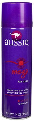 Aussie Mega Hold Hair Spray...best hair spray ever...smells so good!!!!!!! :)