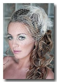 Side Ponytails with Veil Pictures? :  wedding Birdcage+Veil+Hair+Down+1