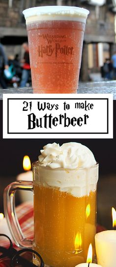 Harry Potter and Butterbeer. The delicious beverage of witches and wizards. Found in Diagon Alley, Hogsmeade Village and the Wizarding World of Harry Potter at Universal Studios. potter party food menu recipe 21 Ways to Make Butterbeer Harry Potter Food, Harry Potter Halloween, Harry Potter Christmas, Harry Potter Theme, Harry Potter Cocktails, Harry Potter Butterbeer, Harry Potter Treats Sweets, Harry Potter Universal, Harry Potter Baking Recipes