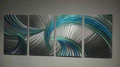 Abstract Metal Wall Art Contemporary Modern Decor Origina Tempest Blue Green   eBay