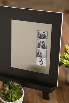 Photo booth wedding guest book. Stainless steel plate on a black mat board. Modern and clean look! zentnerdesign.com