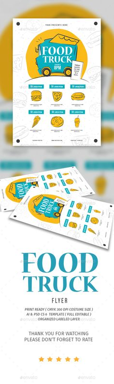 Food Truck Flyer — Photoshop PSD #colorful #promotion • Download ➝ https://graphicriver.net/item/food-truck-flyer/19212167?ref=pxcr