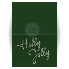 Holly Jolly in sparkles decorates this green corporate Christmas Card