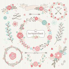 Wedding Floral Wreath Clip Art, Hand Illustrated Digital Flowers , Flower and Laurel Clip Art, PNG Flower Clip Art, Wreath flower Art Watercolor, Watercolor Flowers, Hand Illustration, Corona Floral, Flower Clipart, Grafik Design, Graphic, Flower Designs, Bunt