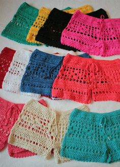 Knitting Patterns Wear Bileya Hand-crocheted Low-Rise Drawstring Women& Shorts / Hot Pants with open stitch (unlined).Bileya hand crochet shorts hot pants in blue shorts top sold separately spring summer 18 bikini bathing suit cover up more colorsBil Crochet Pants, Crochet Halter Tops, Crochet Clothes, Crochet Bikini, Crochet Woman, Hand Crochet, Crochet Baby, Knit Crochet, Crochet Summer