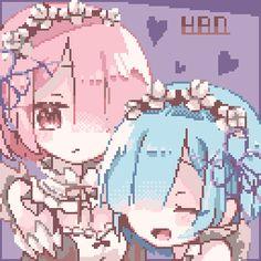 レムラムハピバ✨✨✨✨ - のーにゃ(no-nya)🐌🐌 Anime Pixel Art, Anime Art, Kawaii Art, Kawaii Anime, Pretty Art, Cute Art, Arte 8 Bits, 8bit Art, Re Zero