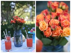 Ladies garden party/ outside picnic/ orange roses/ stripped grey straws
