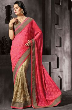 Charismatic Cream and Salmon Pink Saree