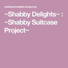~Shabby Delights~ : ~Shabby Suitcase Project~
