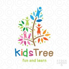 Kids tree logo with bloom, hearts and leaves. ( tree, pediatric, child, children, community, care, humanity, colorful, figure, people, kids, kid, garden, gentle, healthy )