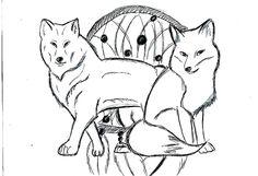 Этот рисунок на тему тотемное животное.Здесь представлены лиса и волк. *-*