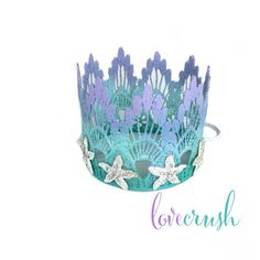 Retail (MSRP) $37.95  {l ♥ v e} what you see? tweet it ~ pin it ~ like it! ...ombre painted crown in lavender mint aqua shades is adorned with