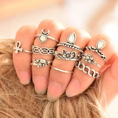 Vintage Boho Charm Ring Set (10 Rings)