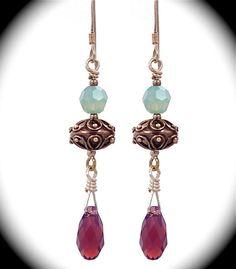 Sterling earrings w/pastel green & amethyst