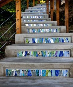 Flowing mosaic stair risers by Jennifer Kuhns