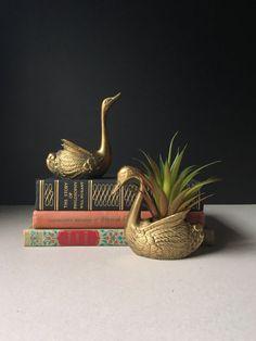 PAIR Vintage Brass Swan Planters, Mid Century Planter, Brass Swans, Brass Ducks, Brass Birds, Retro Brass Home Decor Planter, Boho Decor
