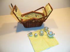 Miniature Wicker Picnic Set with Ceramic Tea Set