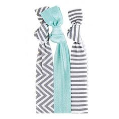 Our Morgan™ Hair Tie Set is minty fresh! Our steel chevron and stripe patterns are a splash of fun added to any hair style. #twistband #hair #tie #elastic