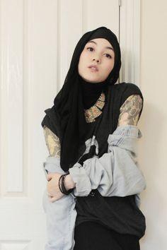 hijab style denim shirt
