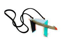 Aric Verrastro - Lake Scene #2 | Pendant driftwood, nails, leather, acrylic paint, thread - Buy Now Price: $150.(135€)
