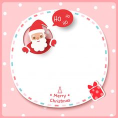 Merry Christmas With Santa Claus And Present Box On Frame Pink Background. Merry Christmas, Box Frames, Adobe Illustrator, Presents, Santa, Winter, Vector Freepik, Vector Background, Boots