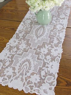 """Beautiful! Antique Cutwork French Net Lace Table Runner 53""""  Vintageblessings"""
