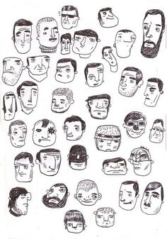 Doodle faces by Matan Liberman #poster #flat #illustration http://www.artcoursework.com/illustration.html: