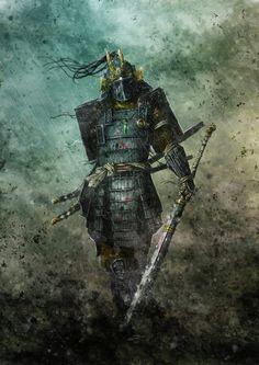 Amazing Artwork by Olivier Sanfilippo Dark Fantasy Art, Fantasy Armor, Ronin Samurai, Samurai Warrior, Japanese Tattoo Art, Japanese Art, Japanese Dragon, Fantasy Character Design, Character Art