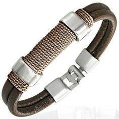 Brown Leather Modern Surf Bracelet For Men Men's Jewellery #mensfashion #mensjewellery