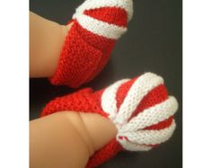 Candy Cane Holiday Baby booties knitting pattern Beginner Level