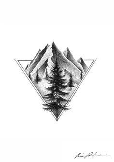 Geometric Mountain Tattoo, Mountain Tattoo Design, Tatoo Nature, Nature Tattoos, Geometric Shapes Art, Geometric Nature, Type Tattoo, Dark Tattoo, Forearm Sleeve Tattoos