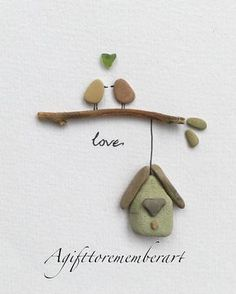 """Feathery love"" #agifttorememberart #pebbleart #birds #house #bedroomdecor #art #handmadeart #unique #recycledart #nature #australia #stones #beach #etsy #etsyseller #makersgonnamake #instaart #instaphoto #love #inlove #frame #driftwood #seaglass #giftideas #wedding #anniversary #engagement"