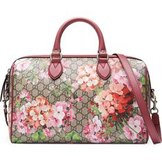Gucci Blooms Gg Supreme Top Handle Bag ($1,360) ❤ liked on Polyvore featuring bags, handbags, pink, top handles & boston bags, women, pink purse, floral print handbags, floral purse, handbag purse and antique purses
