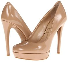 $89, Tan Leather Pumps: Jessica Simpson Baleenda. Sold by 6pm.com. Click for more info: https://lookastic.com/women/shop_items/4961/redirect