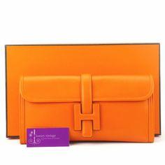 #HERMES JIGE Clutch29 Orange Colour Swift Leather Good Condition ref.code-(KKKC-1)