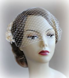 Ivory & Gold Birdcage Veil and Fascinator Bridal by TheRedMagnolia