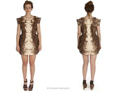 Elizabeth Meiklejohn wood dress - A dress created entirely from recycled and non textile materials: wooden scraps and bark