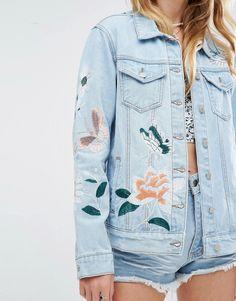 Image 3 ofGlamorous Boyfriend Denim Jacket With Embroidery