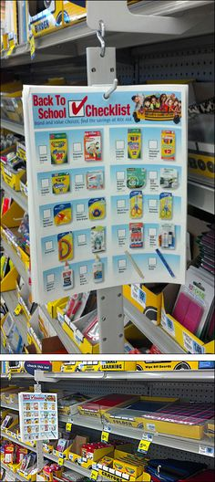 What could be a better merchandising strategy than a Back-to-School Checklist on a Strip prominently positioned among Back-to-School Supplies themselves. Back To School List, Back To School Checklist, School Displays, Store Displays, Retail Signage, Guerilla Marketing, Point Of Purchase, Back To School Supplies, Advertising