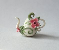 Miniature Lovely Fairy Blossom Teapot OOAK by C. by ArtisticSpirit