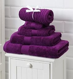 Gem purple and white thick cotten towels....