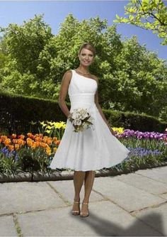 Above is a simple one shoulder one wedding dress with knee length. Description from wedwebtalks.com. I searched for this on bing.com/images