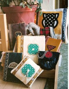 Leather celtic pillow cover, journal covers, wedding album & ring pillow, belt pouch, and pony, by Sara MacIntyre