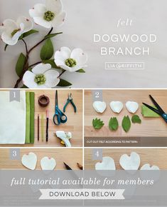 DIY step by step photo tutorial for felt dogwood branches by Lia Griffith Handmade Flowers, Diy Flowers, Fabric Flowers, Paper Flowers, Felt Crafts Diy, Felt Diy, Fabric Crafts, Felt Flower Template, Felt Flower Tutorial