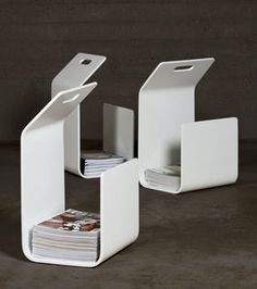 Kanto is an incredibly simple item: a newspaper stand or fire wood rack made from one bent plywood sheet. Kanto, designed by Pancho Nikander in continues with honor Artek's tradition of bent wood products. Features Shipped assembled in a Carry Away…Read Steel Furniture, Industrial Furniture, Diy Furniture, Furniture Design, Industrial Office, Modern Furniture, Tole Pliée, Newspaper Stand, What Is Fashion Designing