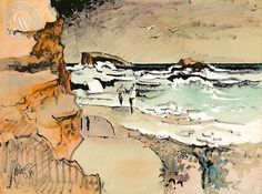 From the Cove, Laguna, 1985, California art by Milford Zornes. HD giclee art prints for sale at CaliforniaWatercolor.com - original California paintings, & premium giclee prints for sale