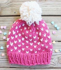 San Valentín Pink Pom Pom sombrero sombrero de corazones Pom